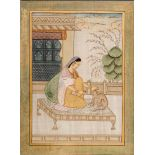 LARGE SILK PAINTING OF A NOBLEWOMAN WITH CAT – 1900s Painting with colors and gold on silk, wooden
