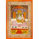 INDIAN MINIATURE PAINTING OF KRISHNA WITH LOVERColors and gold on paperIndia, Mogul style, 19th