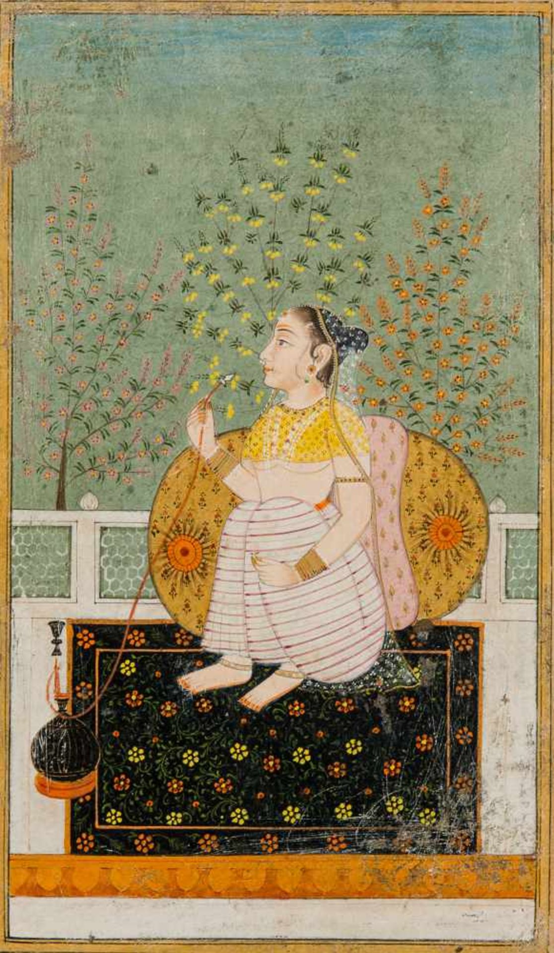 A GOUACHE PAINTING OF A CONCUBINE WITH WATER PIPEGouache painting with gold on paper Indien, Pahari,