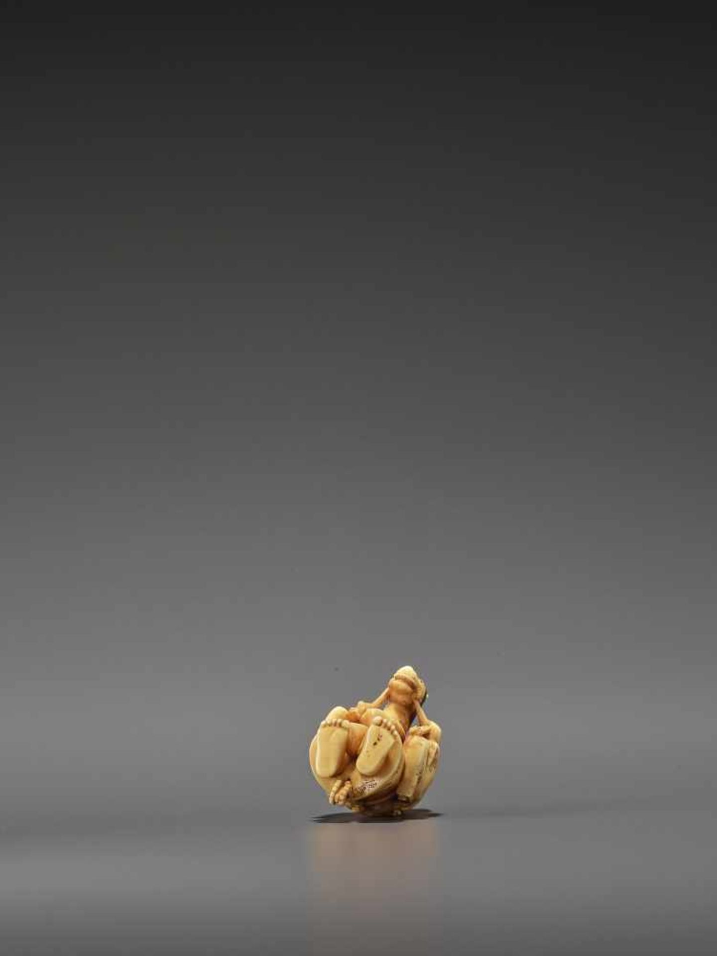RYOMIN: A VERY FINE IVORY NETSUKE OF A BOY WITH HOBBY HORSE By Ono Ryomin, signed Ryomin with - Image 7 of 11