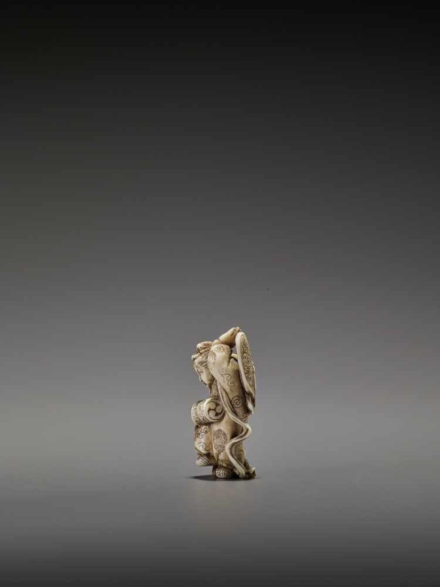 MASAHIRO: A VERY RARE IVORY NETSUKE OF A BUTTERFLY DANCER, KOCHO NO MAI By Masahiro, signed - Image 6 of 13