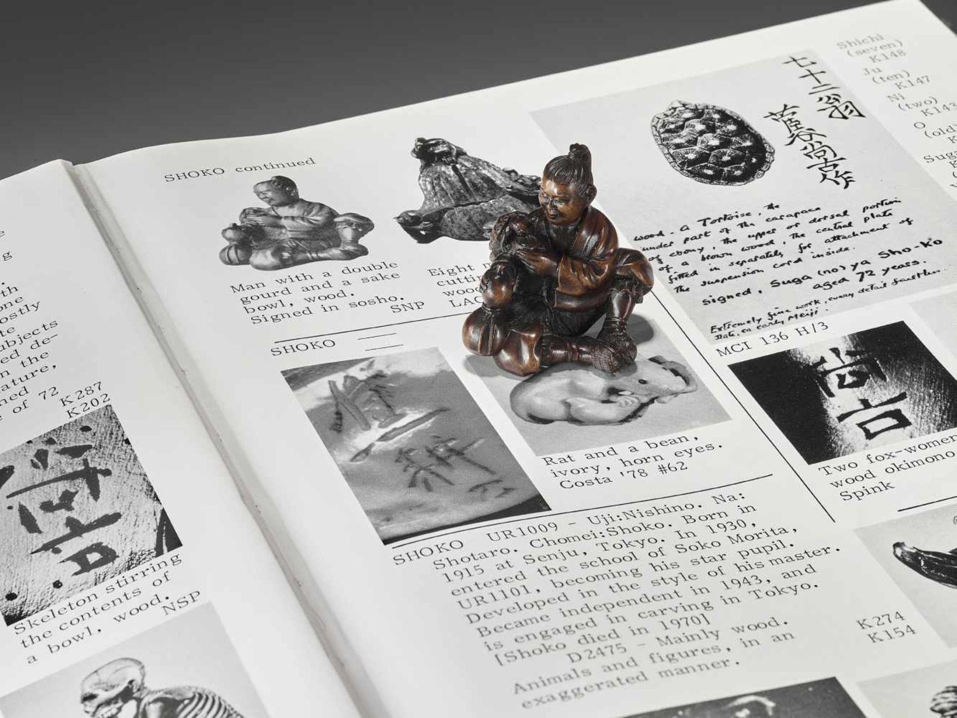 SHOKO: A RARE WOOD NETSUKE OF URASHIMA TARO WITH TURTLE By Shoko, signed ShokoJapan, Takayama, - Image 2 of 12