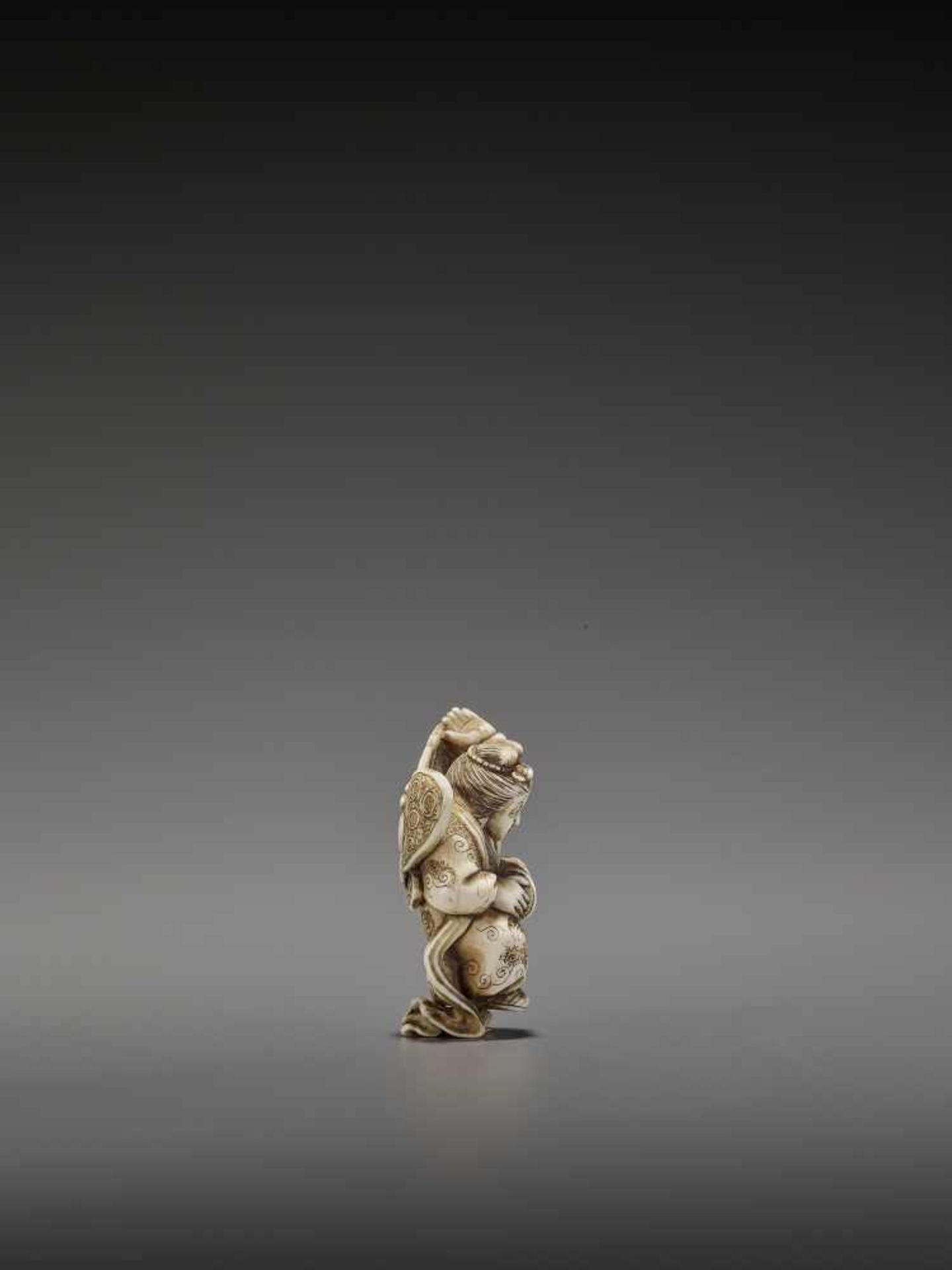 MASAHIRO: A VERY RARE IVORY NETSUKE OF A BUTTERFLY DANCER, KOCHO NO MAI By Masahiro, signed - Image 8 of 13