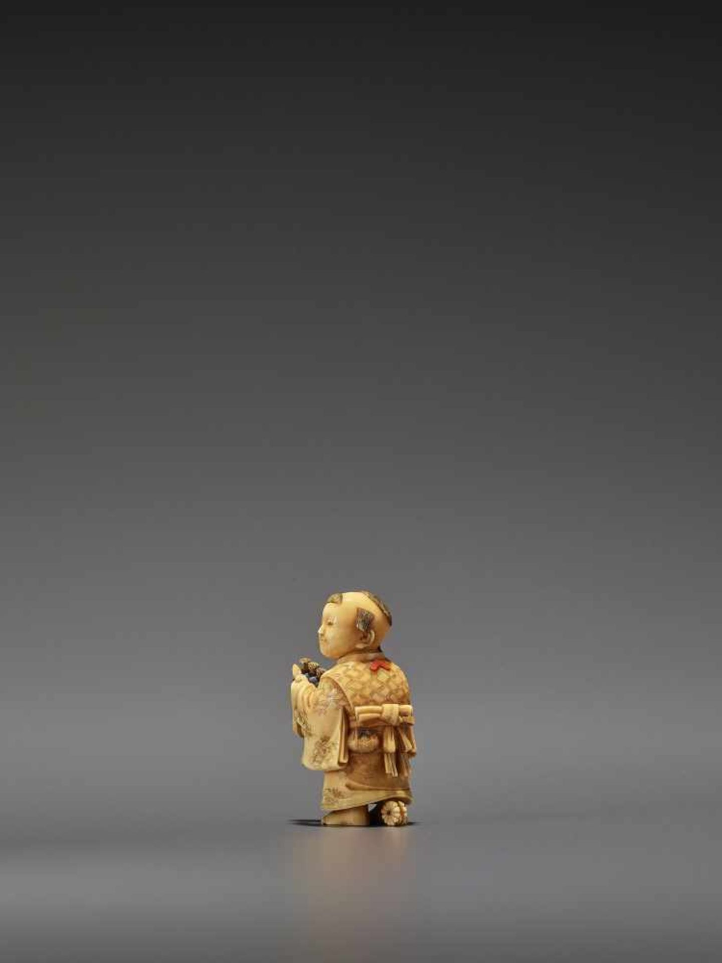 RYOMIN: A VERY FINE IVORY NETSUKE OF A BOY WITH HOBBY HORSE By Ono Ryomin, signed Ryomin with - Image 2 of 11