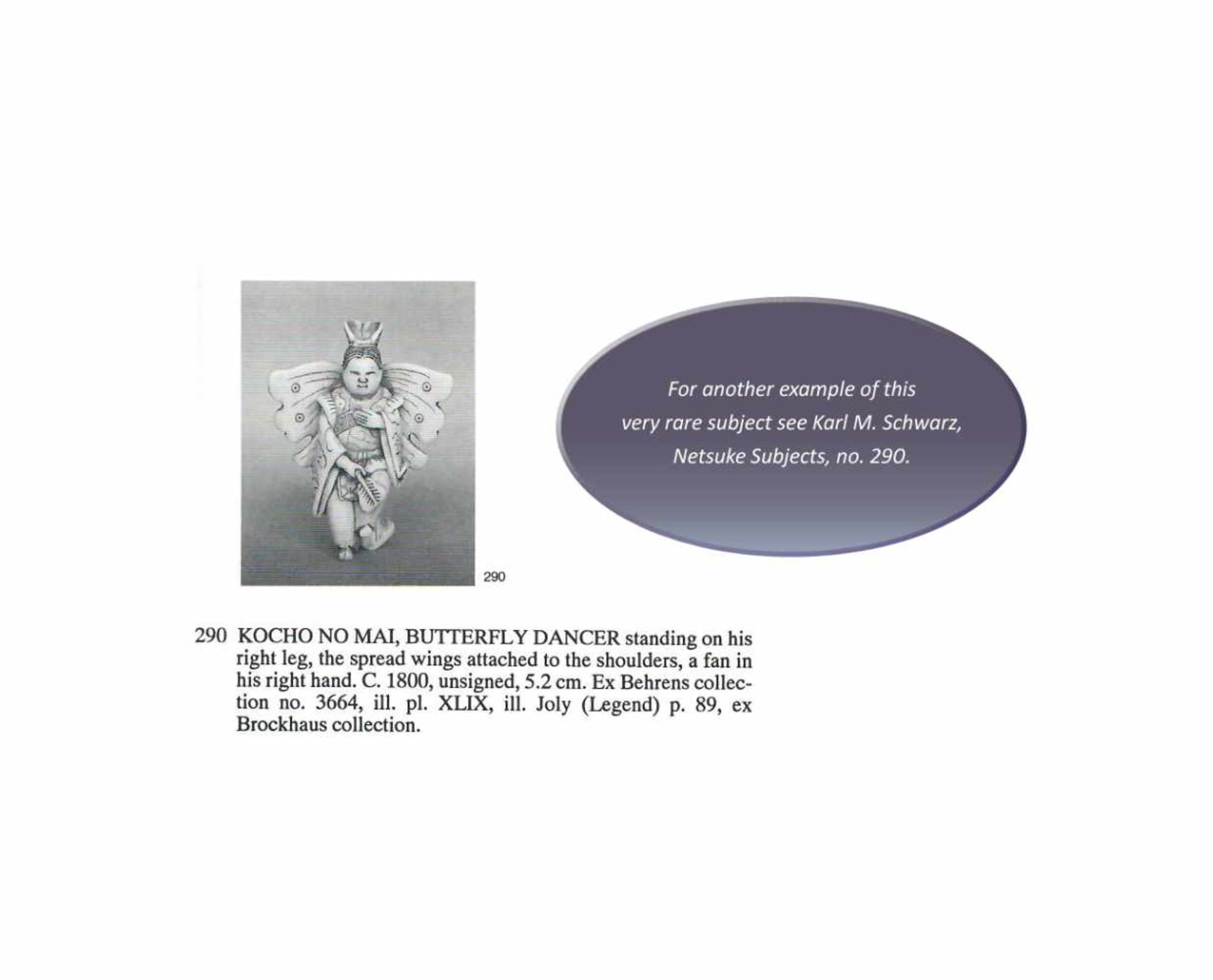 MASAHIRO: A VERY RARE IVORY NETSUKE OF A BUTTERFLY DANCER, KOCHO NO MAI By Masahiro, signed - Image 13 of 13