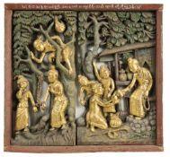 Schüler BuddhasBurma, wohl um 1900Holz, geschnitzt, bemalt und vergoldetHöhe: 58 cm, Breite: 62