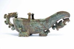 Chinesisches Ritualgefäss aus Jadeca. 27 x 6,5 x 10 cmProvenienz: Privatsammlung Zürich.A Chinese