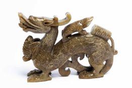 Chinesischer Jade-Drachen12 cm langProvenienz: Privatsammlung Zürich.Chinese Jade-Dragon, 12 cm