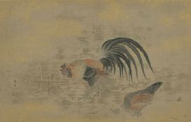 Hahn und Henne sowie Frauen im SchneeChina / Japan, Aquarell / Papier, 20. Jh.24 x 39 cm und 41 x 16