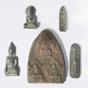 Five antique amulets, different materials, from 3,5 to 8,7 cm high, Provenance: Private