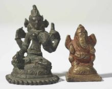 Two little figures of Sarasvati and Ganesha, Bronze, probably Pala-Style and time and 19th