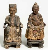 Pair of Ancestors, China: probably province Hunan, around 1700; wooden, carved, each ca.