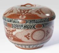 Lid bowl with iron red and dark blue decor, Japan, stoneware, 20th c., Diameter: 18 cm,
