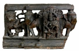 The Goddess Laksmi between lions and elefants, South-Indian frieze, probably 8th c., 32,5