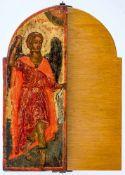Hl. Erzengel Michael und Gabriel Flügel eines griechischen Triptychons, beidseitig bemalt, 18. Jh.