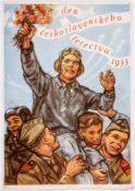 Tag der Tschechoslowakischen Luftfahrt 1955 Monumentales Plakat, Prag, 1955 85 x 59 cmCzechoslovak