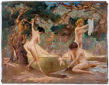 Badende Frauen Öl auf Leinwand, Anfang 20. Jh.., rechts unten signiert S. Baskakour oder S. Baskakow