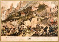 Russian Soldiers & Cossacs advancing to the devils Bridge Sehr grosser kolorierter Kupferstich von