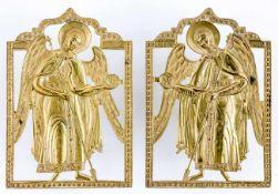 HL. Erzengel Michael und Gabriel Ein originales Paar von zwei vergoldeten russischen Bronzeikonen,