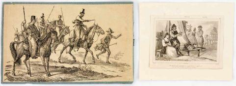 2 GraphikenHolzstich, wohl 19. Jh., 17,7 x 29,7 cm, doubliert auf Papier. 2: Ein Tuchhändler mit