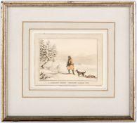 A Siberian Exile Shooting a black fox Aquatinta von M. Dubourg, publiziert bei Edward Orne, London