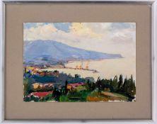 Unbekannter Maler Jalta Öl auf Malkarton, wohl 1973 35 x 50 cmText auf der Rückseite lautet in