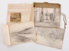 Seltene Mappe mit 16 Bleistiftzeichnungen (1916-1918) des Ethnographen und Künstlers Georgij