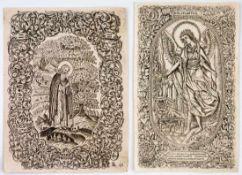 Heiliger Mönch und Schutzengel 2 russische Holzschnitte (?), wohl 18. Jh. 22,2 x 16,8 cm und 23 x