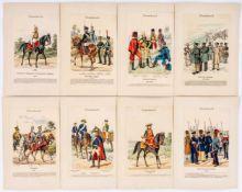 """Russische Uniformen 8 Xylographien aus """"Uniformenkunde"""" von Richard Knötel (1857-1914) je ca. 22,6"""
