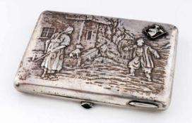 """Zigarettenetui nach einem Gemälde von Serov Russland, Silber (175g), Moskau 1908-1917 Meister: """"C."""
