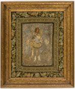 Hl. Erzengel Michael Gestickte Ikone, 19. Jh. mit Rahmen 61 x 52 cmSt. Archangel Michael,