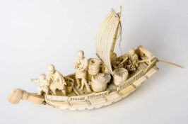 Sailboat with 4 persons and goods, Japan, ivory carving, probably around 1900length approx. 52 cm,