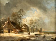 A Winter Landscape, Netherlands, oil on canvas, signed A. Schelfhout, probably AndreasSchelfhout (