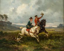 A Falconer with rider in ladies seat, England, oil on panel, 19th century, 25,5 x 32 cm,frame: 33,