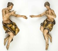 A pair of monumental Adoration Angels, South German region, baroque wood carving, early18th century,