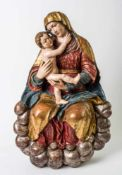 Very large sculpture of Mary with Child Jesus on clouds, South German region, baroque woodcarving,