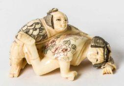 Netsuke with erotic scene, Japan, ivory carving, signed Matsuyama, probably around 1900,Length: 5,