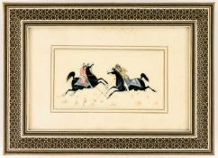 Playing Polo, Persian miniature painting on ivory with inlaid frame, probably early 20thcentury., 10