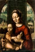 A rare painting of the Madonna with the Infant Jesus, Italy, oil / panel, according to