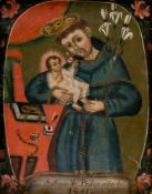St. Anthony of Padua, Spain, Oil on metal, dated 1881, 25,5 x 20 cm, frame: 39 x 33,5 cm//