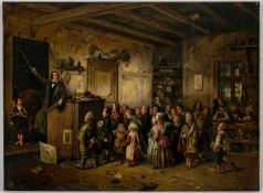 In the village school, Oil on canvas, probably circle of Johann Peter Hasenclever(1810-1853), 47 x