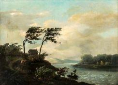 An impressive river landscape, Oil on canvas, 19th century, 46,5 x 66 cm, frame: 66,5 x84,5 cm,