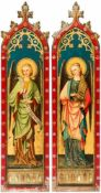 Two monumental paintings with angels, oil on panel, neo-gothic, 19th century, each 162 x41 cm //
