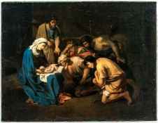 Impressive painting of the Adoration of the Shepherds after Nicolas Poussin (1594-1665),Oil/