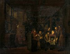 The contract, Netherlands, oil / canvas (doubled), probably circle of Richard Brakenburgh(1650-