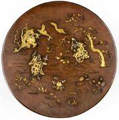 Three magicians and a dragon, Japan (Kyoto), bronze plate with gold inlays, signature:Kumagai,