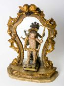 Charming figure of the Infant Jesus in front of a mirror, Southern Germany, wood carving,late 18th