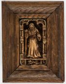A rare figure of a saint, Netherlands, wax, signed on the reverse by Maria Anna Mouton,known as