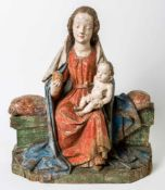 Important enthroned Madonna with Child Jesus, Franconia, Gothic, woodcarving, around1430/40, 62 x 54