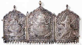 Buddhist Deities, Triptych or part of a polyptych, probably: India, tin (?), c. 1900,opened: 16 x 28
